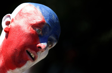 A Czech Republic supporter is pictured before the World Cup soccer match between the US and the Czech Republic in Gelsenkirchen