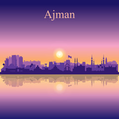 Ajman silhouette on sunset background