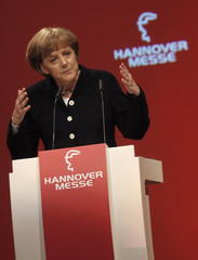"""German Chancellor Angela Merkel speaks at the opening ceremony of the """"Hannover Messe"""" industrial trade fair in Hanover"""