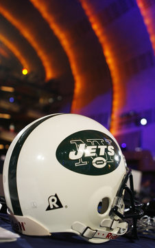 A New York Jets helmet sits on the team's desk before the start of the 2008 NFL Draft in front of Radio City Music Hall in New York