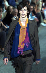 A model for Belgian designer Dries Van Noten presents this creation as part of his Spring/Summer 200..
