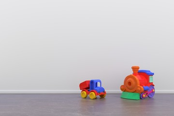Part of interior with toy car ,3D rendering