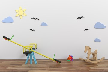Mock up wall in child room interior,3d rendering