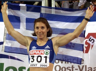 EKATERINI THANOU OF GREECE CELEBRATES HER VICTORY AFTER WINNING THE WOMEN'S 60 METRES FINAL AT THE ...