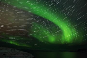 Northern Lights on the Kola Peninsula. Teriberka, Murmansk region, Russia
