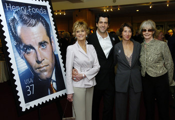 The late actor Henry Fonda family pose together alongside a design of the new Henry Fonda U.S. ...