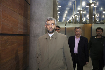 Iranian chief nuclear negotiator Saeed Jalili arrives at the International Imam Khomeini airport in south of Tehran after his trip to Russia