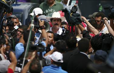 Ousted Honduran president Manuel Zelaya arrives at the border town of Las Manos between Nicaragua and Hondura