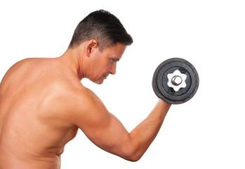 Man exercising with dumbbells on white background