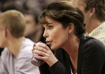 Actress Flynn Boyle watches Toronto Raptors play Washington Wizards in Toronto