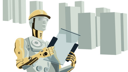 Futuristic Concept Vector of Robot Construction Worker with Buildings.