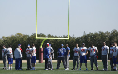 New York Giants players line-up for practice for their upcoming NFL Super Bowl game against the New England Patriots in Tempe
