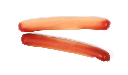 Stale, rotten unhealthy sausages isolated on a white background
