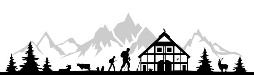 Silhouette Berge Wanderer Wall mural