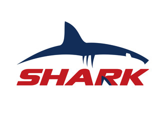Great white shark logo sign vector illustration isolated on white background