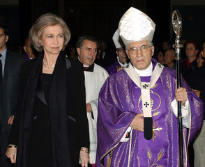 SPANISH QUEEN SOFIA AND MADRID'S CARDINAL ROUCO ENTER CATHEDRAL FOR FUNERAL MASS.