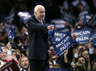 U.S. Republican presidential nominee Senator John McCain gestures at audience at Republican National Convention in St. Paul