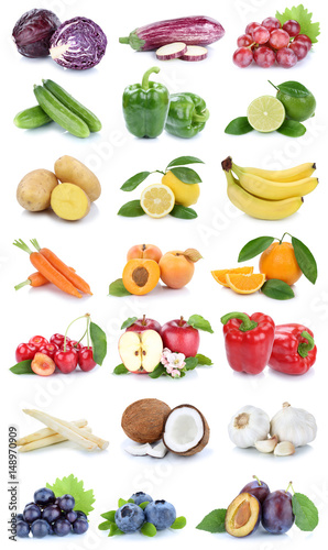Obst und Gemüse Früchte Apfel Orange Farben frische Collage Karotten ...