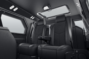 Automobile luxury interior big black leather seats. 3D rendering