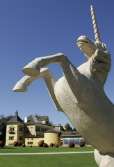 Picture shows a statue of an unicorn in front of castle Hellbrunn in Salzburg