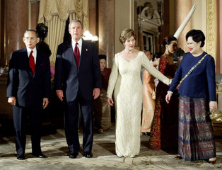 PRESIDENT BUSH AT THE GRAND PALACE IN BANGKOK.
