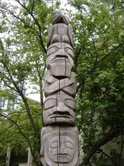 Totem Pole in Urban Setting