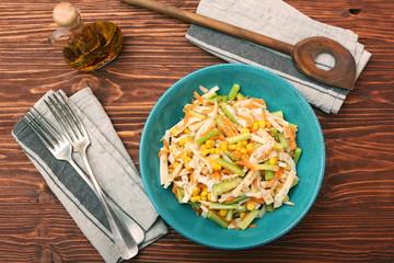 Calamari salad with carrot and cucumber
