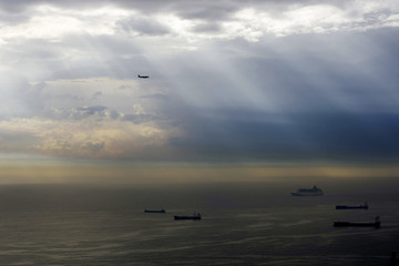 Storm clouds gather over the Mediterranean sea near Barcelona