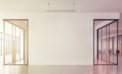 Office corridor, panoramic, front, toned