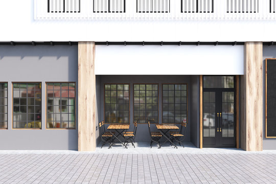 Gray cafe exterior