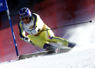 NORWAY'S SIVERTSEN IN ACTION TO TAKE THIRD IN WORLD CUP SUPER G.