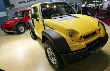 Brazilian off-road model Stark 4x4 made by Tac is put on display at the International Automobile Trade Show of Sao Paulo