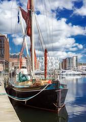Boats moored up at Ipswich marina on a vibrant sunny day