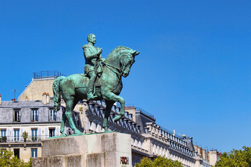 Foch statue on a horse, blue sky, paris city, france