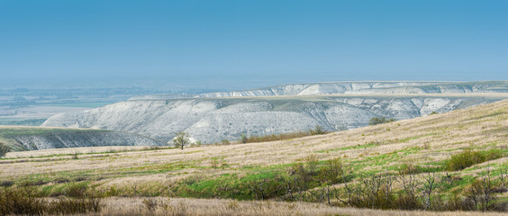 Panoramic view of the chalk mountains in the Don River valley, Donskoy park.
