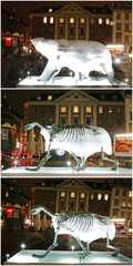 Combination of pictures shows ice-sculpture of a polar bear as it melts in Copenhagen