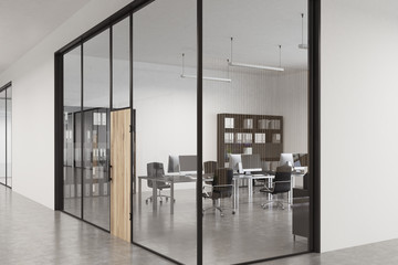 Glass office wooden door, lobby, close up