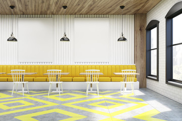 Cafe with posters, white and yellow