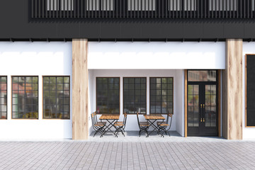White cafe exterior Fotomurales