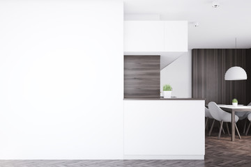 Dark kitchen counter, table, side