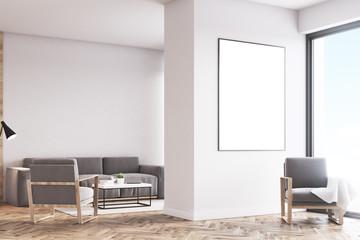 Living room armchair, white, side