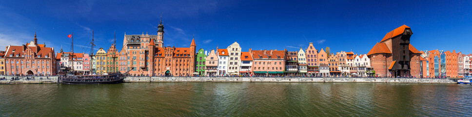 Panorama of the old town of Gdansk at Motlawa river, Poland Wall mural