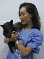 Actress Maggie Q plays with an Asiatic black bear cub at the Vietnam Bear Rescue Centre in Tam Dao National Park
