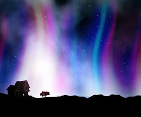 3D house landscape against a night sky with aurora lights