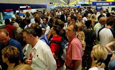 AIR PASSENGERS CROWD TERMINAL ONE FOLLOWING BRITISH AIRWAYS STAFFWALKOUT AT HEATHROW AIRPORT.