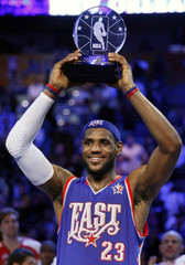 Cleveland Cavaliers' James holds up the Most Valuable Player of the NBA All-Star basketball game trophy after receiving the award in New Orleans