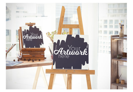 Sunny Studio with Two Easels Mockup