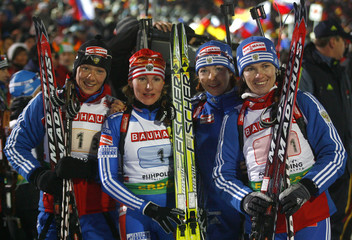 Russia's Zaitseva, Akhatova, Boulygina and Medvedtseva celebrate second place in women's 4x6 kilometres relay race at the Biathlon World Cup in the southern Bavarian resort of Ruhpolding