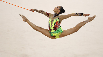 Aliya Garayeva of Azerbaijan performs with the rope during the individual all-around final of the rhythmic gymnastics competition at the Beijing 2008 Olympic Game