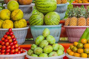 Tropical fruit display.